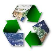 recycle symbol of planet earth - stock illustration