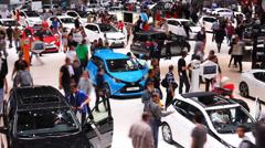 Aerial view Timelapse of Auto Salon De Geneve 2014 Stock Footage