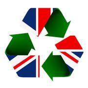 uk flag on a recycle symbol - stock illustration