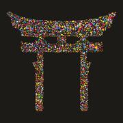 grunge colourful religious japanese shinto symbol, vector illustration - stock illustration