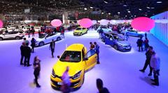 Beautiful Renault New Cars in Auto Salon De Geneve 2014 Stock Footage