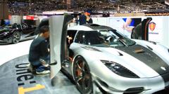 Koenigsegg One:1 best racer in Auto Salon De Geneve 2014 Stock Footage