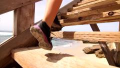 Close Up Feet Of Woman Running Up Stairs HD Stock Footage