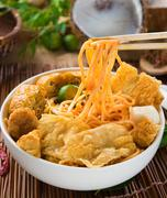 singapore curry noodles with tradtional setting - stock photo