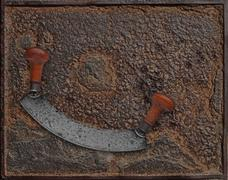 Vintage chopper over rusty plate Stock Photos