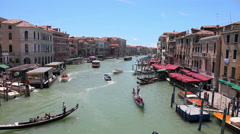Venice Italy Grand Canal gondola gondolas Venezia italian city travel tour ride Stock Footage