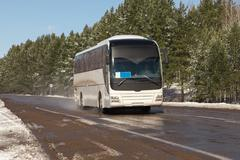 coach on the road - stock photo