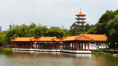 Singapore Chinese Garden Jurong Garden Tower and Pagoda Stock Footage