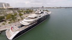 Aerial Serene Megayacht in Miami Florida Stock Footage