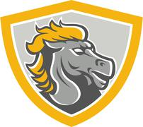 Bronco horse head shield Stock Illustration