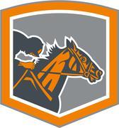 jockey horse racing shield retro - stock illustration