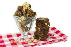 brownie sundae with walnuts - stock photo