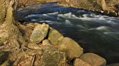 Fast flowing river rapids - 4K Ultra HD time lapsed Stock Footage