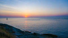 4K. Timelapse of ocean during beautiful sunset - ULTRA HD, 4096x2304. Stock Footage