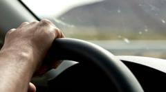 Hand on Steering Wheel  - stock footage