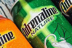Stock Photo of various energy drinks adrenaline rush