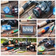 Set of images of fishing Stock Illustration