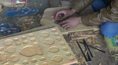 Craftsman working on wood plank, Katmandu, Nepal Stock Footage