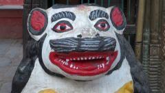 Tiger sculpture near buddhist hinduist temple in Katmandu, Nepal Stock Footage