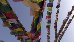 Buddhist flag on bouddhnath stupa and camera motion, Katmandu,Nepal Stock Footage