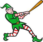 Stock Illustration of elf baseball player batting isolated cartoon