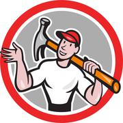 carpenter builder hammer circle cartoon - stock illustration