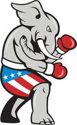 elephant mascot boxer boxing side cartoon - stock illustration
