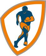 rugby player running shield silhouette - stock illustration