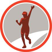 Female marathon runner running circle retro Stock Illustration