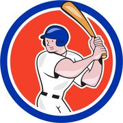 Baseball player batting circle side cartoon Stock Illustration