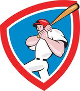 Baseball player batting crest red cartoon Stock Illustration