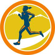Stock Illustration of female triathlete runner running retro
