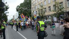 Yearly Baltic pride gay lesbian parade. Police public order Stock Footage