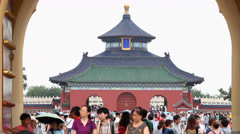 Tourists visit Temple of Heaven park, Beijing, china. Stock Footage