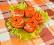 Cooked baked stuffed tomato Stock Photos