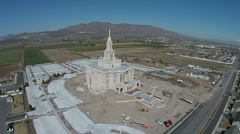 Aerial construction Payson Utah LDS Mormon Temple HD 0030 Stock Footage