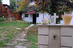 Courtyard in the fall in bulgaria Stock Photos