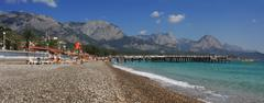 panoramic view on kemer beach. - stock photo