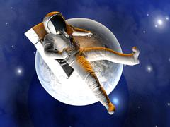 astronaut floating over the earth - stock illustration