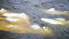 River stream with floating ice Stock Footage