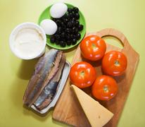 Ingredients for stuffed tomato salad Stock Photos