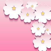 Abstract floral pink background with 3d flowers sakura Stock Illustration