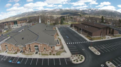 Aerial Mormon church at Snow College Ephraim Utah HD 0034 Stock Footage