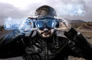Stock Illustration of speed blue light effects in googles biker with black leather jacket and old g