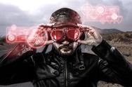Stock Illustration of speed red  light effects in googles biker with black leather jacket and old g