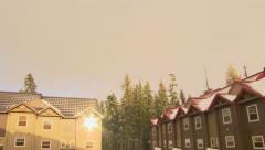 Sun Shines Bright on Mountain Resort Stock Footage