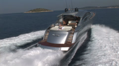 Aerial view of luxury boat sailing Stock Footage