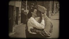 Old home movie film woman kissing soldiers 1950s Stock Footage