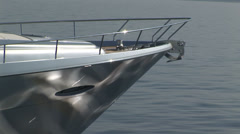 Detail of the bow of a luxury boat sailing Stock Footage
