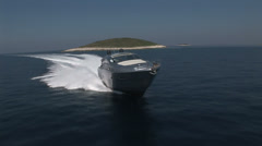 Aerial view of luxury boat sailing close to the Croatian coast Stock Footage